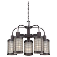 Chandelier with cylindrical glass shades and metal mesh overlay.  Product: ChandelierConstruction Material: Meta...