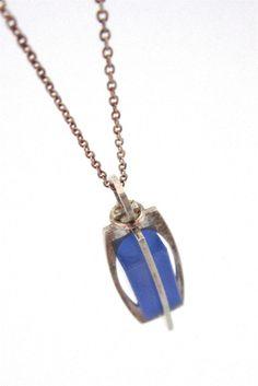 Kupittaan Kulta, Finland silver necklace - caged blue pillar