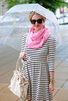 Pink scarf, stripes