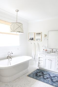 Caitlin Wilson Kismet in Steel Rug featured in Monika Hibb's gorgeous master bathroom | Shop Rug now at www.caitlinwilson.com