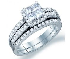 Princess Diamond Engagement Ring Wedding Set 14k White Gold (1.22ct) #Diamond #wedding #Bridal #Ring #fashion #Jewelry #White
