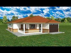 Bungalow House Plans, Bungalow House Design, House Front Design, House Floor Plans, House Layout Plans, Family House Plans, House Layouts, Kids House, Hip Roof Design