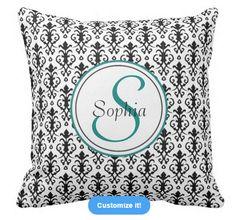 Customize your own Monogram Damask pillow #damask #pattern #monogram #pillow