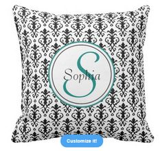 Customize your own Monogram Damask pillow #damask #pattern #monogram #pillow