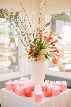 calla lilies, blooming branches, tulips, hydrangeas
