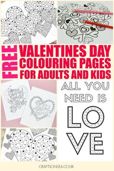 Gorgeous free printable Valentines Day colouring pages for adults and kids. Ten designs with hearts and flowers plus details on how to find more!