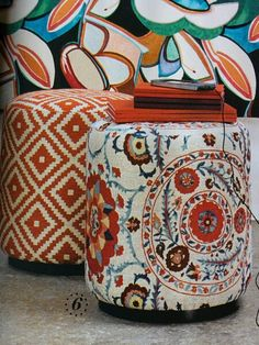 Ottomans, fabric: Anthos (Sanderson) and Indy (Elitis at Abbott & Boyd)