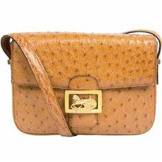 Celine Vintage Brown Ostrich Leather Shoulder Bag with Gold Hardware from Rewind Vintage Affairs