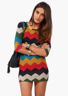 Love the fall colors in this chevron mini dress