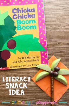 Literacy Snack Idea Alphabet Tree _ Chicka Chicka Boom Boom  #literacysnack #booksnack #alphabet #alphabetsnack #kindergarten #preschool