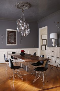 eiffel chair Dining Room Contemporary with black dining chair buffet table ceiling medallion cluster pendant