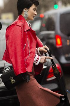 Woman wearing a Balenciaga dress during Paris Fashion Week Fall Winter 2017