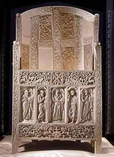 Ravenna, Italy, Archiepiscopal Museum, the famous ivory seat of Massimiano