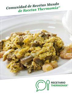 Revuelto de setas y gambas por tortolana. La receta de Thermomix<sup>®</sup> se encuentra en la categoría Aperitivos y tapas en www.recetario.es, de Thermomix<sup>®</sup> Quiches, Flan, Cereal, Food And Drink, Breakfast, Gastronomia, Arrows, Salads, Mantle