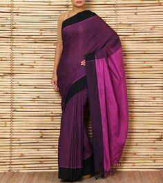 Purple & black Kerala cotton #saree by #Amodha brand