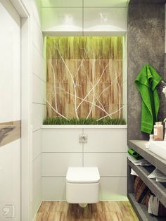 Natural Storage Ideas For Small Bathrooms With White Stack Bond Tile Wall And Brown Floor And Gray Cabinet Storage And Up Mount Sink