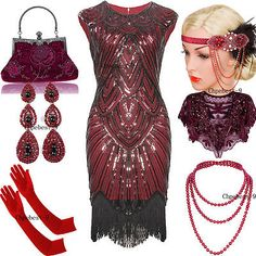 4fca99b5ff3 1920s Flapper Vintage Great Gatsby Dress Tassel Fringe 20s Party Red  Costumes Party Costumes