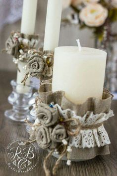 Personalized Wedding Candle Rustic Wedding Unity Ceremony Pillar Candle Burlap and Lace Unity Candle Set Votive Candle Burlap Flowers Burlap Candles, Rustic Candles, Large Candles, Pillar Candles, Diy Candles, Decoration Shabby, Wedding Unity Candles, Unity Ceremony, Christmas Crafts