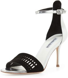 Charles David Margie Suede-Cutout Leather Sandal, Black/White on shopstyle.com