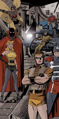 "dieselfutures: ""The Minutemen 1940 - Darwyn Cooke - Before Watchmen "" DC Comics Comic Book Artists, Comic Book Characters, Comic Artist, Comic Character, Comic Books Art, Arte Dc Comics, Hooded Justice, Gi Joe, Superman"