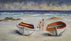 Lily and lady - Louis Pretorius art Yellow Submarine, Love Painting, Oil On Canvas, Coastal, Vibrant, Lily, Ocean, Watercolor, Landscape