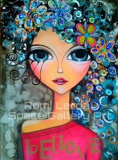 Create her hair with stamps,etc. Art Pop, Art Journal Inspiration, Painting Inspiration, Pintura Graffiti, Arte Sketchbook, Whimsical Art, Portrait Art, Face Art, Mixed Media Art