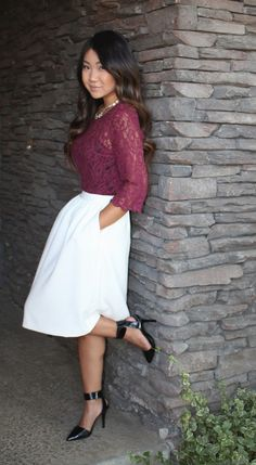 Modest church outfit on the blog today! Burgundy lace top, white knee length skater skirt and black ankle strap pointed toe heels. #modest #ootd #lace #skirt #fashionblogger