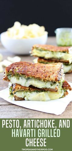 Pesto, Artichoke, and Havarti Grilled Cheese-this simple grilled cheese sandwich is bursting with flavor! This grilled cheese sandwich is made with spinach basil pesto, artichoke hearts, and creamy Havarti cheese. It is always a hit! Pesto Sandwich, Grill Cheese Sandwich Recipes, Grilled Cheese Recipes, Grilled Sandwich, Gormet Grilled Cheese, Sandwiches, Pesto Grilled Cheeses, Artichoke Recipes, Recipes With Artichoke Hearts
