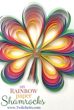 These fun paper crafts, Rainbow colored paper Shamrocks, are perfect for St. Use it as a kids activity or make one yourself! March Crafts for kids March Crafts, St Patrick's Day Crafts, Spring Crafts, Holiday Crafts, Arts And Crafts, Diy Crafts, Paper Crafts Kids, Blue Crafts, Simple Crafts