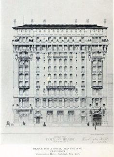 Design for a hotel and theatre in New York