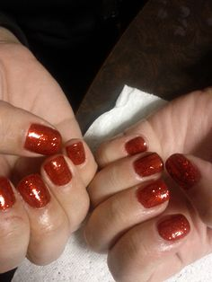 Ruby Red Slipper Shellac, gel polish, red nail manicure, red sparkly nail, short red nail