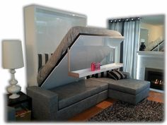 At Expand Furniture we specialize in custom space saving furniture. our sectional wall bed couch provides the user with great seating and a hidden bed. Murphy Bed Ikea, Murphy Bed Couch, Cama Murphy, Murphy Bed Plans, Bed Sofa, King Murphy Bed, Murphy Desk, Sofa Pillows, Expand Furniture