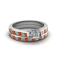 Luminous Cathedral Set || Princess Cut Diamond Wedding Set With Orange Sapphire In 18K White Gold