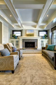 20 Craftsman Style Family Room Designs and Ideas - Fireplace with cabinets - Craftsman Living Rooms, Craftsman Fireplace, Craftsman Interior, Fireplace Built Ins, Craftsman Style Homes, Home Fireplace, Fireplace Remodel, Living Room With Fireplace, Fireplace Design