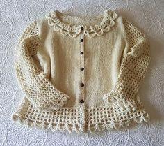 Ravelry: Lovely Lacey Cardigan pattern by Barb Padwicki-knit and crochet Crochet Baby Cardigan Free Pattern, Crochet Baby Jacket, Crochet Baby Sweaters, Baby Girl Sweaters, Crochet Baby Clothes, Cardigan Pattern, Crochet Cardigan, Knit Crochet, Crochet Pattern