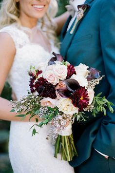 "Deep burgundies contrast with crisp whites in this bouquet of dahlia, mini calla, Juliet garden roses, patience garden roses, seeded eucalyptus and jasmine vine. Via CJ's Off The Square. ""Make me that bouquet"" Fall Wedding Bouquets, Fall Wedding Flowers, Bride Bouquets, Bridal Flowers, Floral Wedding, Wedding Flower Arrangements, Fall Wedding Purple, November Wedding Flowers, Plum Wedding Colors"