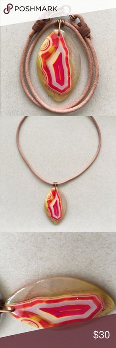 "Bundle and save 20%  Leather Choker Necklace 16"" A beautiful 16"" Horse Eye Agate leather choker necklace. After looking at every pendant necklace available I wanted a design that was totally different, unique, simple and stylish but made a statement. I designed the unique pendant 16 gauge copper wrap. After many many attempts I found a process that makes the wrap almost perfect every time! If not I cut it off and do it again. The clasps were also a design I came up with using 16 gauge copper"