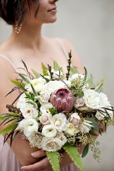 This ivory bouquet with majolika spray roses, blushing bride and a Pink Ice Protea is perfect for a showstopping bridal or bridesmaid's bouquet Photo: Tara Whittaker Photography Protea Wedding, Wedding Bouquets, Wedding Flowers, Elope Wedding, Our Wedding, Wedding Ideas, Protea Bouquet, Carla Brown, Spray Roses