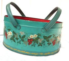 1940s Turquoise Red Metal Basket - Hand Painted Tole Strawberries -Tin Lunch Picnic Pail Handles Container Carrier - Americana Kitchen Decor on Etsy, $39.99