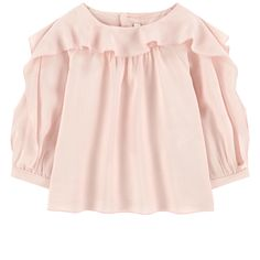 Viscose voile Viscose lining Pleasant to the touch Flowing cut Crew neck Long sleeves Gathered cuffs Gathers under the neckline Buttons in the back Logo buttons Fancy flounces Embroidered brand - $ 146