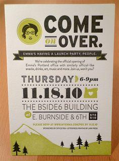Emma, Inc. Portland Open House by Allison Davis, via Behance - cute invitation for a lunch party.