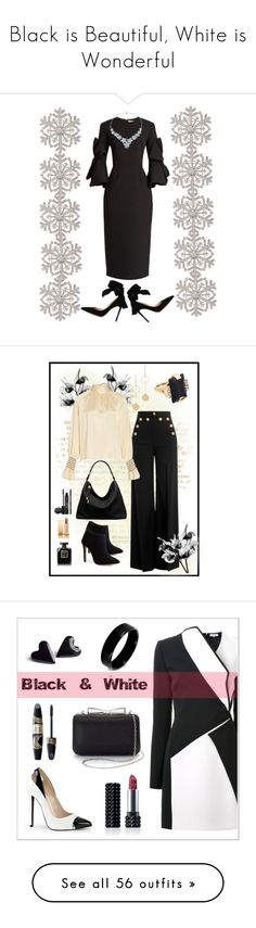 """""""Black is Beautiful, White is Wonderful"""" by kimberlydalessandro ❤ liked on Polyvore featuring Gianvito Rossi, Roksanda, Anne Klein, RED Valentino, TradeMark, Michael Kors, Cloverpost, Marni, Rodial and Yves Saint Laurent"""