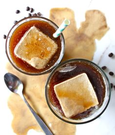 iced coffee season is upon us!  i know that a lot of people prefer to drink iced coffee drinks year-round,  soo.. even better!!  here are some fabulous little flavorful ice cubes - made with brewed coffee  and coconut cream - that will keep your iced coffees and cold brews from  getting watered down. and they add some flava & sweetness.  i don't like getting half way through an iced coffee and having it taste  like h2o + a light residual trace of coffee. i just want da coffee! so i  made…