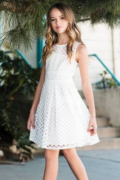 Beverley - Ivory Skater Dress The Beverly Dress features a chic skater style dress with netted lace details and under lining. Cute Little Girl Dresses, Cute Young Girl, Dresses Kids Girl, Cute Dresses, Kids Outfits, Flower Girl Dresses, Girls Fashion Clothes, Tween Fashion, Fashion Dresses