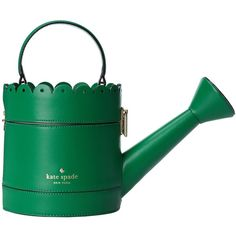 kate spade new york Spring Forward Watering Can Clutch ($328) ❤ liked on Polyvore featuring bags, handbags, clutches, kate spade clutches, kate spade handbag, buckle purses, buckle handbags and green handbags