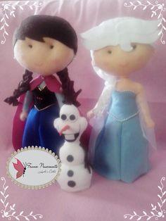 Princesa Elsa e princesa Ana e o Olaf em feltro feitos por mim. France Nascimento