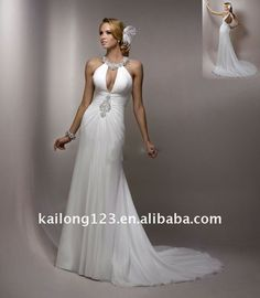 Sexy Sweet Plunging Halter Beaded Chiffon Wedding Gown - Buy Chiffon Wedding Gown,Bridal Wedding Gown,Flowing Wedding Gown Product on Alibab...
