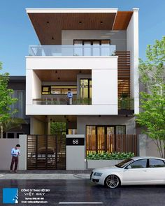 Nadire Atas on House Design 3 Storey House Design, Townhouse Designs, Bungalow House Design, House Front Design, Small House Design, Modern House Design, Modern House Facades, Modern House Plans, Narrow House