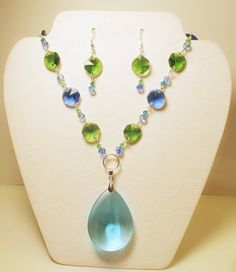 Antique Crystal Chandelier Pendant  Aqua Blue and by ETEMEOJEWELRY, $45.00