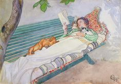 Woman Lying on a Bench (1913). Carl Larsson (Swedish, 1855-1919). Pencil and watercolour. After spending two summers in Barbizon, the refuge of the plein-air painters, Larsson settled down with his...